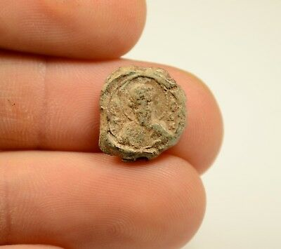 Ancient Byzantine Period Lead Seal - Rare - Collectible - Image Of Saint