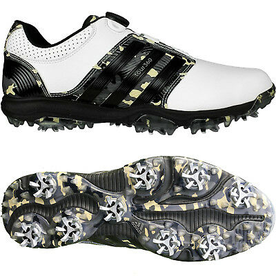 Adidas Tour 360 X BOA Camo Limited Edition Mens Golf Shoes (White/Black/Camo)