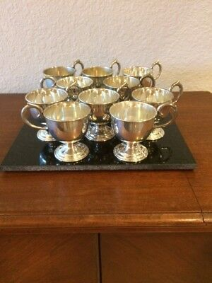 Vintage- Nickle-Silver-plated-Tea/ Punch Cups Set of (10)