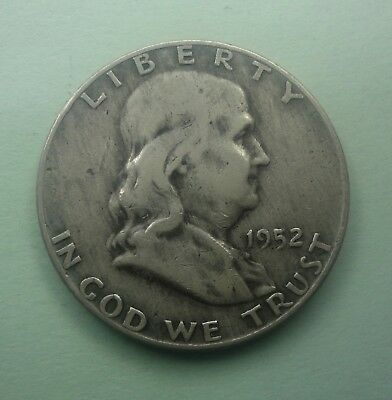 "1952 D  Franklin Half Dollar 90 % Silver US Coin OLD""TUCK"" FH687 FREE SHIPPING"