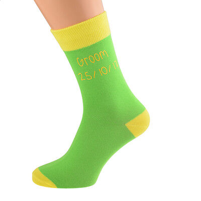 Mens Green Personalised Socks (5-12 shoe) with Yellow contrast YOUR TEXT. X6N690