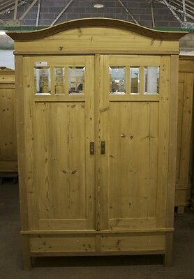 Antique Pine Wardrobe With Mirrored Panels