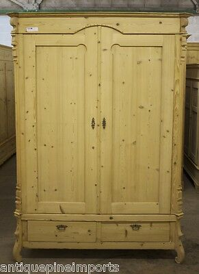 Antique Pine Knockdown Wardrobe With Shelves