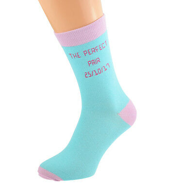 Turquoise Personalised Socks (5-12 shoe) with Pink contrast YOUR TEXT.  X6N690