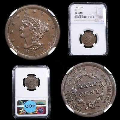 1851 Braided Hair 1/2c Cohen 1 Var  20º CCW Rot Die Graded au55 By NGC Half Cent