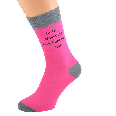 Hot Pink Personalised Socks (5-12 shoe) with Grey Contrast + YOUR TEXT.  X6N687