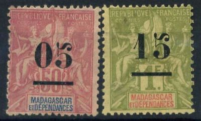 French Offices in Madagascar 1902 Yv. 48,50 MH 80%