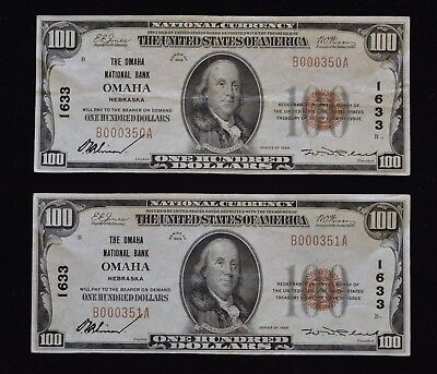 1929 $100 National Currency Omaha National Bank 2 Bills Ungraded