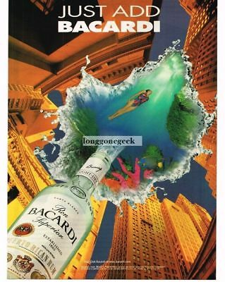 1997 BACARDI Rum Woman Swimming Tropical Waters Dream Fantasy Vtg  Print Ad