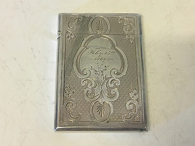 Antique Gorham Sterling Silver Card Case Dated 1864 w/ W Monogram