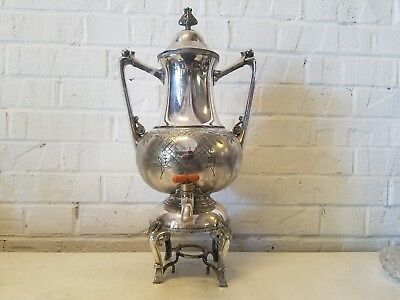 Antique Meriden Quadruple Silver Plate Samovar with Floral Etching