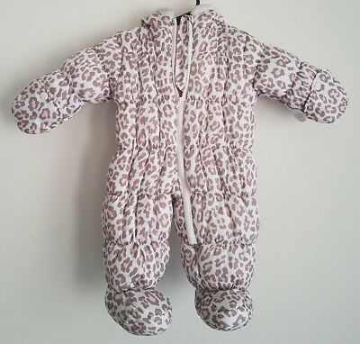 NWT Carter's Baby Girls Hooded Pink Animal Print Snowsuit Size 3-6 Months Zip