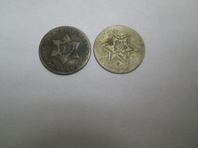 Lot of two (2) 1852 3 cent silver piece US coin  NO RESERVE