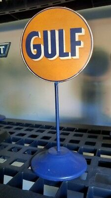 "Vintage style GULF LOLLIPOP DESK SIGN metal 11"" tall gas oil garage man cave"