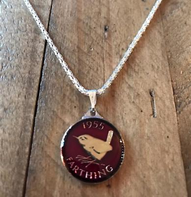 Vintage Enamelled 1955 Farthing Coin Pendant & Necklace. Great Birthday Gift