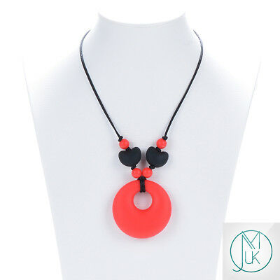 Red Ring Teething Necklace Baby Silicone Teether Autism Sensory Chew Pendant