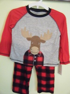 Carter's Just One You Toddler Boys's Moose Fleece Pajama Set, red, 3T
