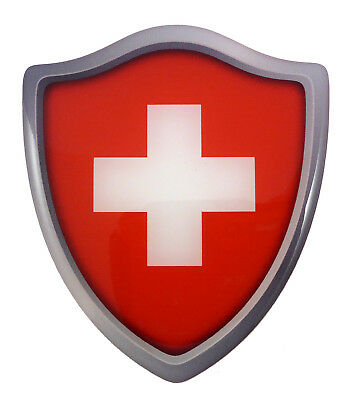 "Switzerland Swiss flag Shield Domed Decal 3D Look edge Emblem sticker 2.6""x3"""