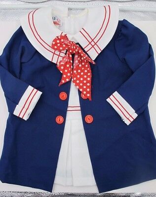 Vintage - 2 Piece - Club 40 Toddler Girl's Sailor Dress And Coat Size 4T