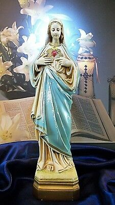 Antique Immaculate Heart of The Virgin Mary Chalkware Catholic Statue