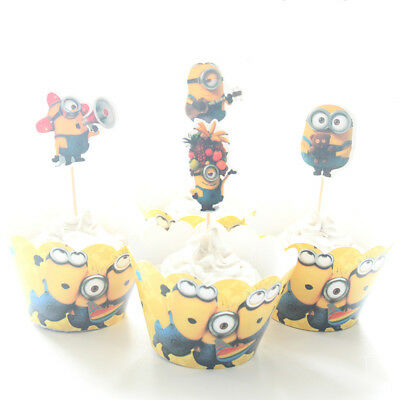 NEW 24pcs Minions 12 Cupcake Wrappers + 12 Toppers for Birthday Party Decor