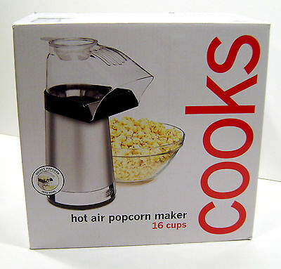 16 Cup Air Pop JC Penney Cooks Hot Air Popcorn Maker 16 Cups -Silver