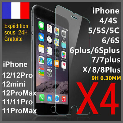 iPhone 8/7/6/6S/PLUS/X/XS/MAX/5S/SE vitre protection verre trempé film d'écran