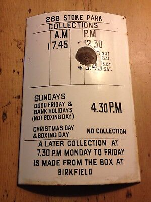 Original Royal Mail/ GPO Times of Collection Enamel Plate for a Post Box 1940's