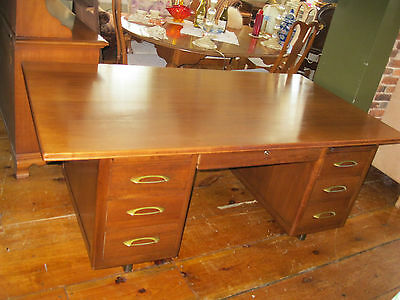 Solid Mid Century Modern Executive Partners Desk w / Glass Top -  #00267