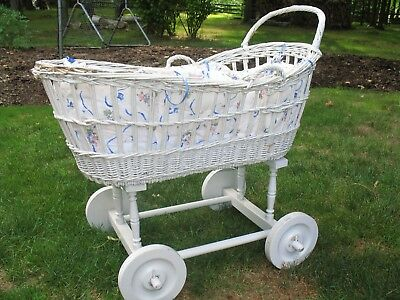 Vintage White Wood Wicker Bassinet on Wheels