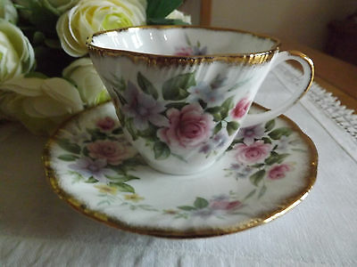 Queens Rosina fine bone china fluted teacup and saucer