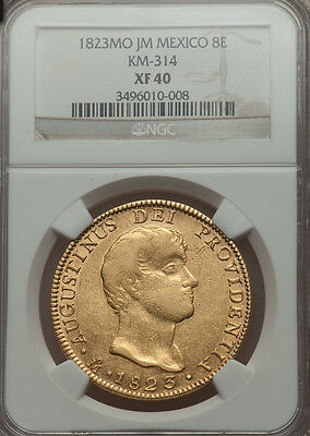RARE!  Gold Coin 8 Escudos Iturbide from Mexico 1823 NGC XF40 NO RESERVE