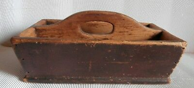 Antique  superbe PINE WOOD  CUTLERY knife box TRAY PAINT  Primitive Folk Art