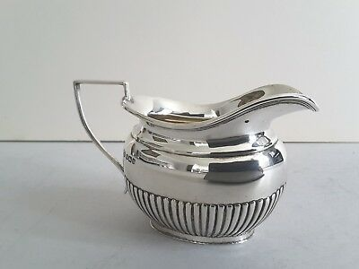 Nice Oval Antique Solid Silver Half- Fluted Cream- Jug.   Sheffield 1911.