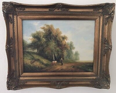 Country French Landscape Cow & Dog Oil Painting on Board in Antique Gold Frame