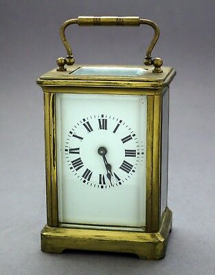 Antique French brass carriage clock 8 day mantle piece Roman numerals 1915