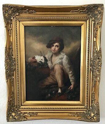 Country French Portrait Boy & Rabbit Oil Painting on Board in Antique Gold Frame