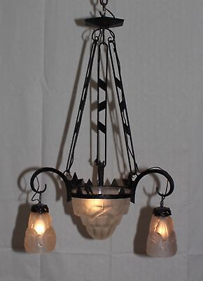"Antique signed ""DEGUE"" Art Deco French chandelier Wrought Iron"