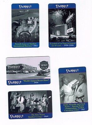 LOT of 5 STARDUST Las Vegas Casino Hotel Room KEYS Cards - Debbie Reynolds +