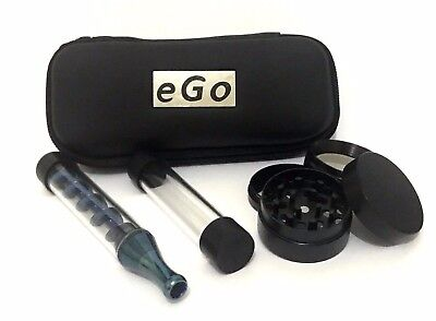 Twisty Glass Blunt Plus 7 Pipe High Tech With 4 Part Grinder & ego Box BLUE