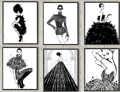 Fashion Illustration / Wall Art / Black & White Art Poster Art / Fashion Prints