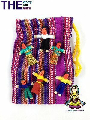 New Mini Worry Dolls in Handwoven Pouch