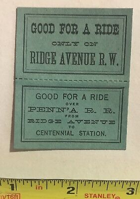Horse Car, Train Ticket to Centennial Exhibition 1876, PRR, Ridge Avenue Railway