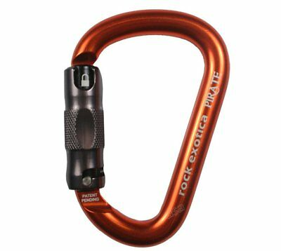 Rock Exotica Pirate HMS Auto-Lock Carabiner in Black, Orange