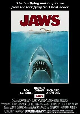 Jaws 1975 Vintage, Retro Movie Poster A0-A1-A2-A3-A4-A5-A6-MAXI 503