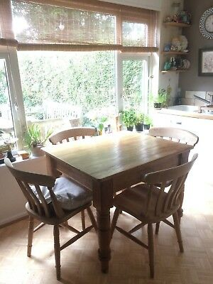 Antique Solid Wooden Wood Pine Kitchen Dining Table Small Rustic Farm House