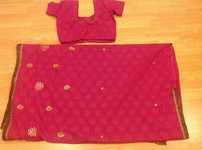 Ladies Indian Bollywood pink net sari and blouse with rose gold brand new