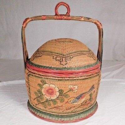 Vintage/antiqe Chinese Wedding Basket Domed Lid Painted Bird Stencil & Handle
