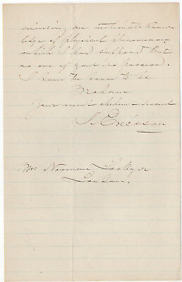 John Ericsson, created the Civil War USS Monitor, autog. letter signed 1877