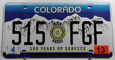 "USA Nummernschild aus Colorado ""100 YEARS OF SERVICE"" Rotary International. 8819"